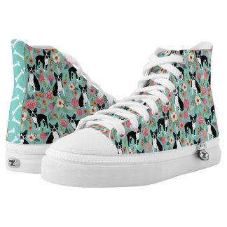 Boston Terrier Floral hi tops