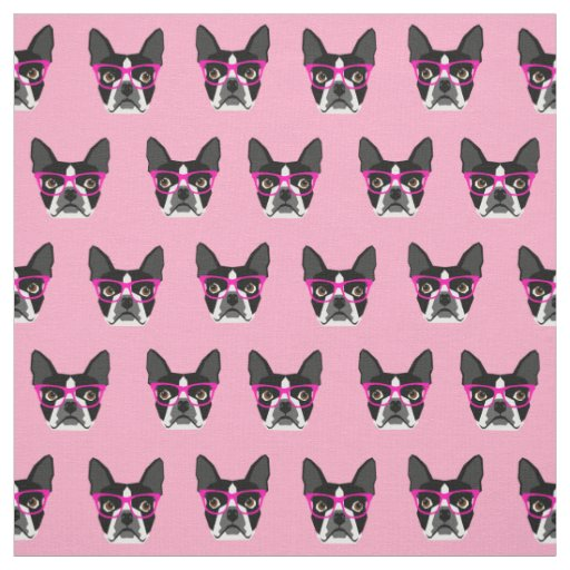 Boston Terrier Glasses - pink fabric