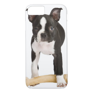 Boston terrier guarding twisty bone iPhone 8/7 case