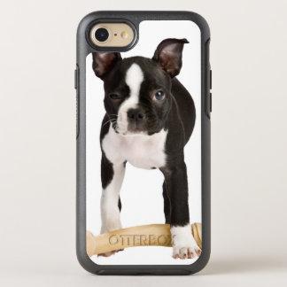 Boston terrier guarding twisty bone OtterBox symmetry iPhone 8/7 case