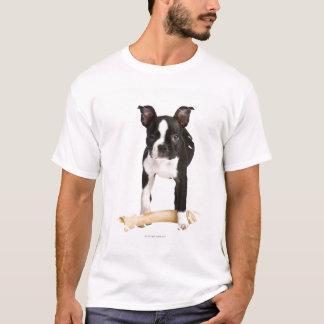 Boston terrier guarding twisty bone T-Shirt