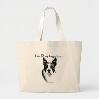 Boston Terrier Happy Face Canvas Bags
