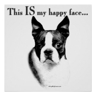 Boston Terrier Happy Face Poster