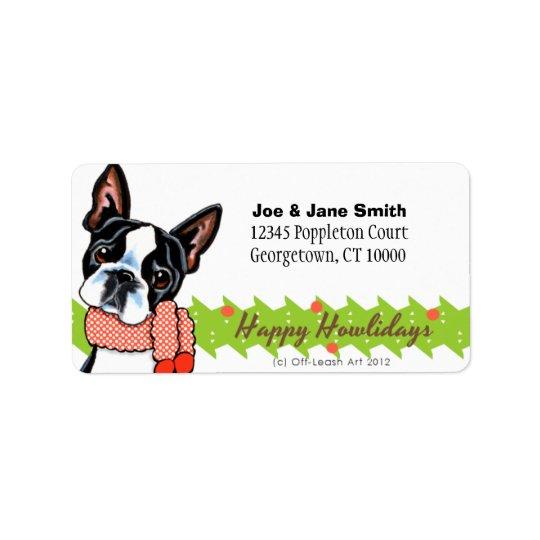 Boston Terrier Happy Howlidays Christmas Address Label