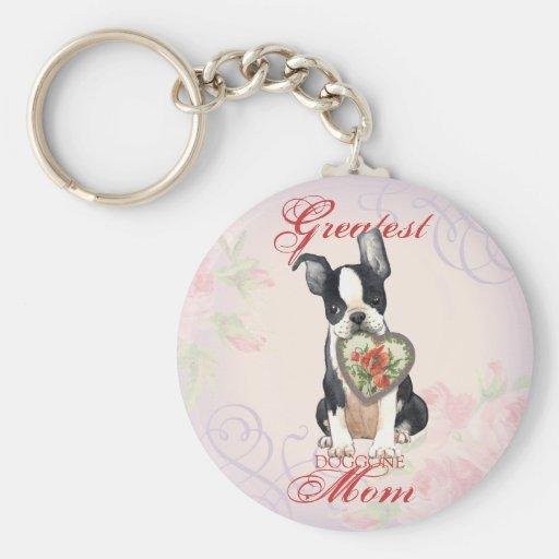 Boston Terrier Heart Mom Keychain