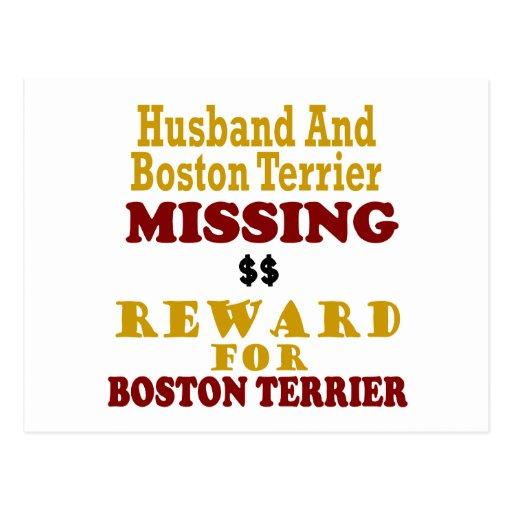 Boston Terrier  & Husband Missing Reward For Bosto Postcard