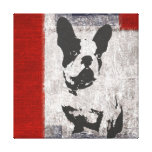 Boston Terrier in Black and White With Red Border Canvas Print