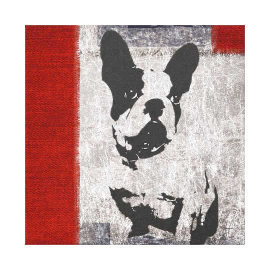 Boston Terrier in Black and White With Red
