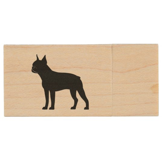 Boston Terrier in Silhouette Wood USB Flash Drive