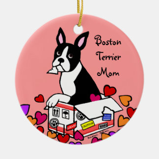 Boston Terrier in the Box Cartoon Round Ceramic Decoration