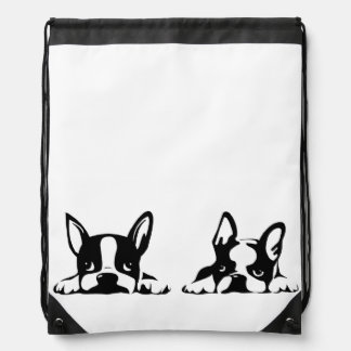 BOSTON TERRIER KOTARO & TEN TEN DRAWSTRING BAG