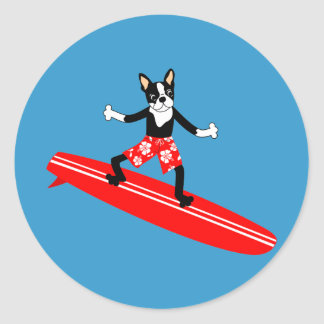 Boston Terrier Longboard Surfer Classic Round Sticker