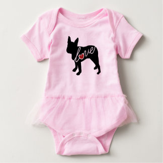 Boston Terrier Love Baby Bodysuit
