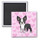 Boston Terrier Love Square Magnet