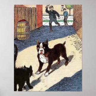 Boston Terrier Meets Cat Poster