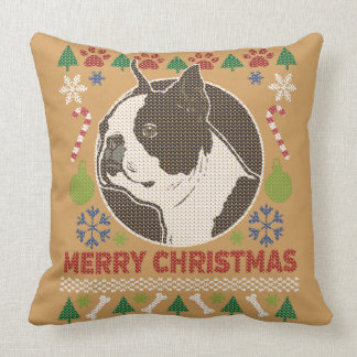 Boston Terrier Merry Christmas Ugly Sweater Cushion