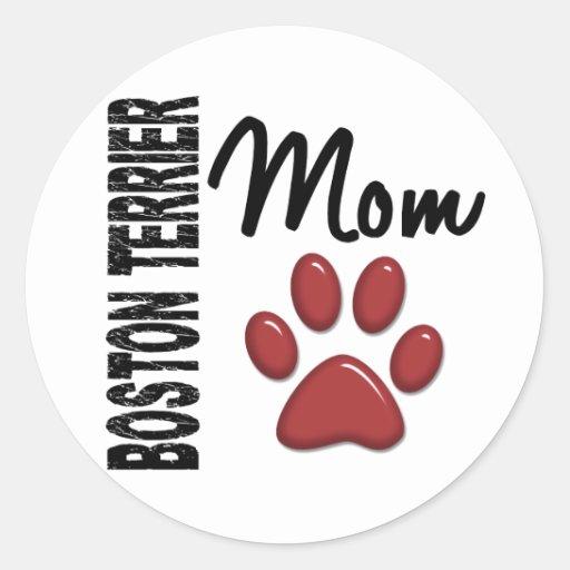 Boston Terrier Mom 2 Round Sticker