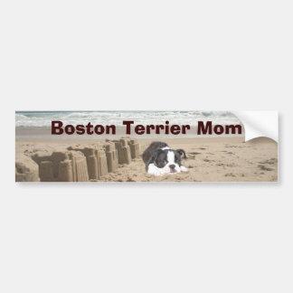 Boston Terrier Mom Bumper Sticker Sandcastles