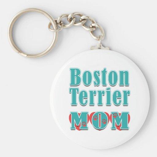 Boston Terrier Mom Hearts Key Chain