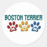 BOSTON TERRIER MOM Paw Print 1 Round Stickers