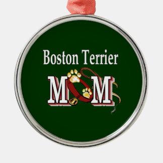 Boston Terrier Mom Silver-Colored Round Decoration