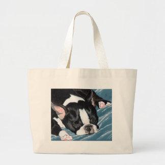 Boston Terrier Nap Large Tote Bag