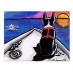 Boston Terrier Nautical Boat Sunset Off-Leash Art™ Postcard