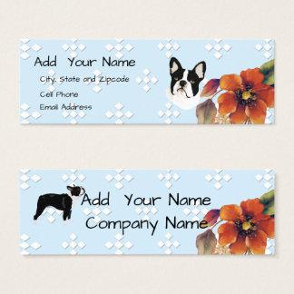 Boston Terrier on Blue Diamond and Autumn Flower Mini Business Card
