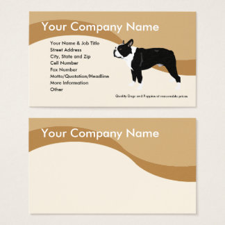 Boston Terrier on Brown Wave Business Card