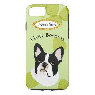 Boston Terrier on Green Leaves iPhone 8/7 Case