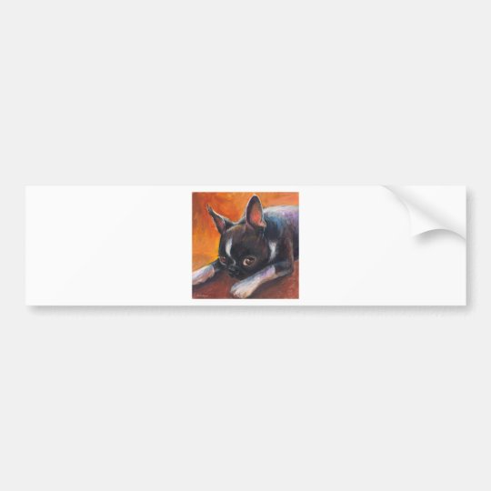 Boston Terrier painting dog Svetlana Novikova Bumper Sticker