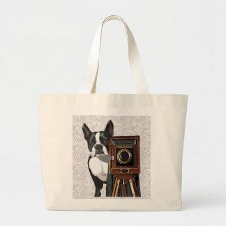 Boston Terrier Photographer 2 Large Tote Bag