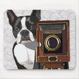 Boston Terrier Photographer 2 Mouse Mat