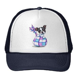 Boston Terrier Plaid Sack Puppy Mesh Hats