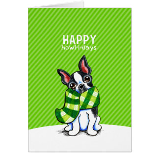 Boston Terrier Plaid Scarf Christmas Card