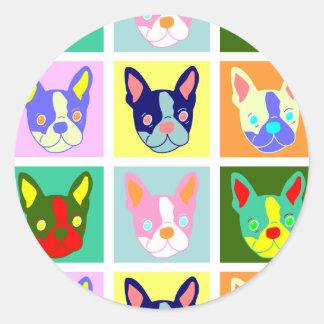 Boston Terrier Pop Art Classic Round Sticker