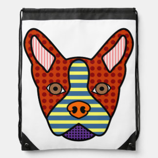 Boston Terrier Pop Art Drawstring Bag