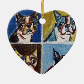 Boston Terrier pop art painting Christmas Ornament