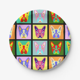 Boston Terrier Pop Art Paper Plate