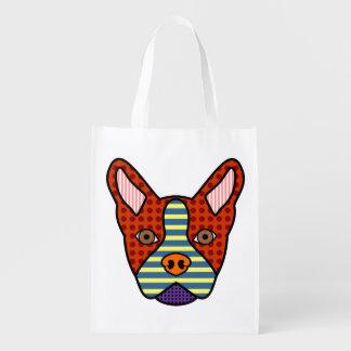 Boston Terrier Pop Art Reusable Grocery Bag