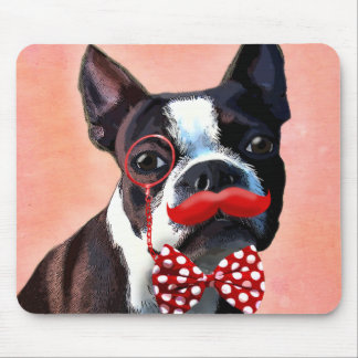 Boston Terrier Portrait with Red Bow Tie and 2 Mouse Mat