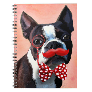 Boston Terrier Portrait with Red Bow Tie and 2 Spiral Notebook