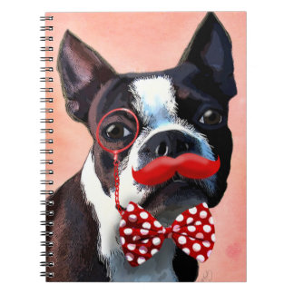 Boston Terrier Portrait with Red Bow Tie and 3 Note Book