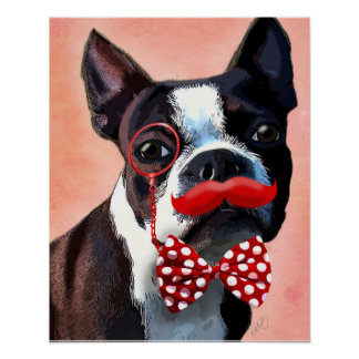 Boston Terrier Portrait with Red Bow Tie Poster