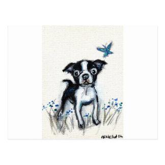 Boston Terrier pup butterfly Postcard