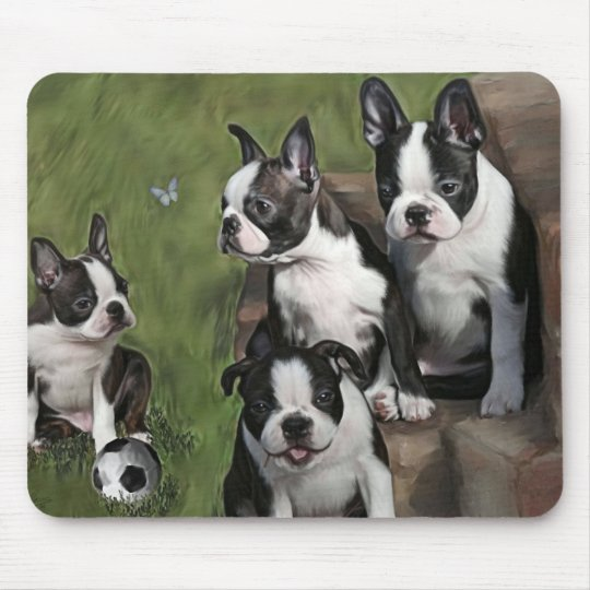 Boston Terrier Puppies Mouse Mat