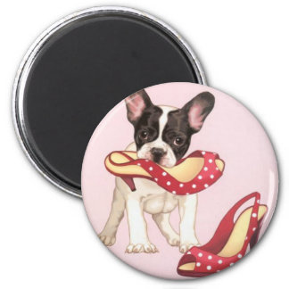 Boston Terrier Puppy With Shoes Magnet