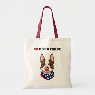 Boston Terrier (Red / Brown) Illustrated Tote Bag