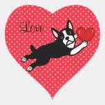 Boston Terrier & Red Heart Cartoon Love Heart Sticker