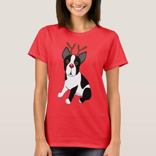 Boston Terrier Reindeer T-Shirt